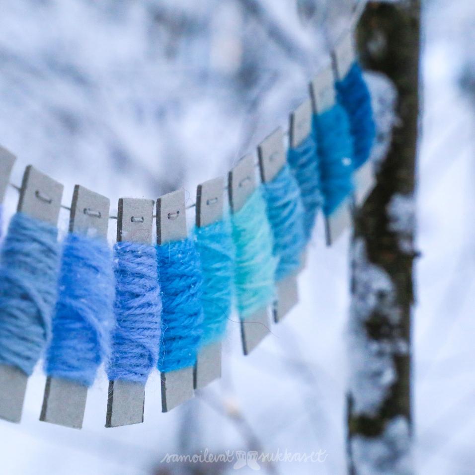 Täässä taasen talven sinertäviä värisävyjä neulehameseen.